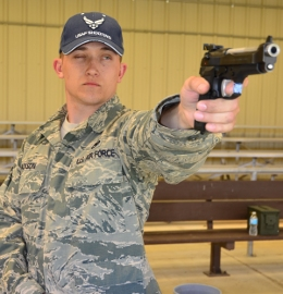 SSgt Jackson with Service Pistol